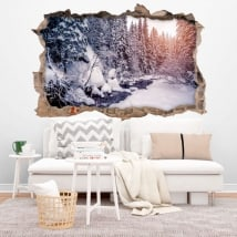 Adesivi murali Winter Mountains Carpathians 3D
