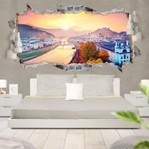 Vinile 3D panoramico tramonto a Salisburgo in Austria