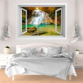 Vinile decorativo Arcobaleno nella cascata 3D