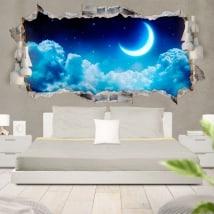 Adesivi luna e stelle 3D