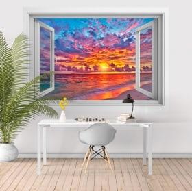 Vinili tramonto sulla spiaggia 3D