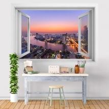 Vinili città tramonto Bangkok 3D