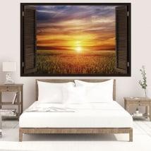 Vinile finestre tramonto nel campo 3D