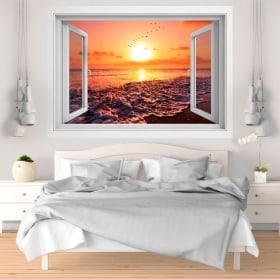 Vinile e adesivi tramonto sulla spiaggia 3D