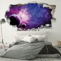 Vinile pareti pianeti e galassia 3D