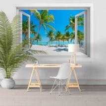 Vinile adesivo finestre di palme sulla spiaggia 3D