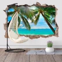 Vinili palme sulla spiaggia 3D