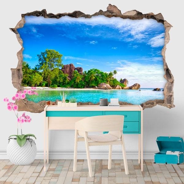 Sticker murale isola La Digue Seychelles 3D