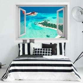 Adesivi finestre aereo delle Isole Maldive 3D