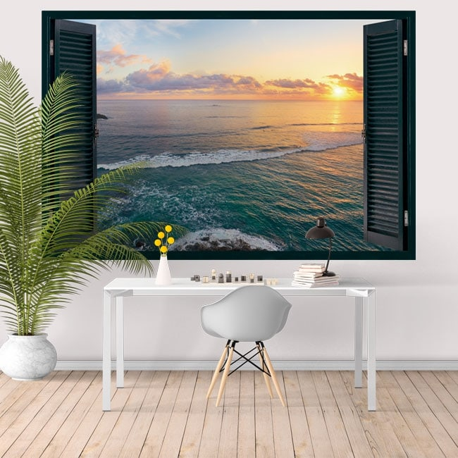 Adesivi murali finestra tramonto tropical island 3d for Adesivi murali 3d