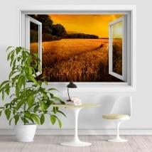 Vinile e adesivi tramonto nel campo di grano 3D
