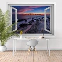 Vinile decorativo finestre tramonto nero mare 3D