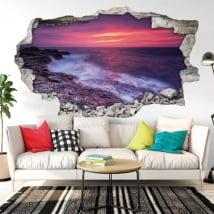 Vinile decorativo tramonto sul mar nero 3D