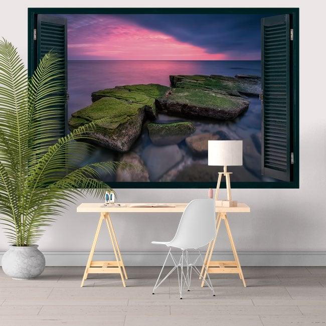 Vinile decorativo finestra tramonto sul mar nero 3D