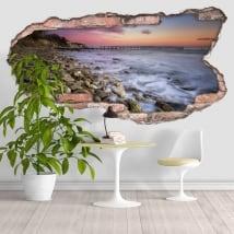 Vinile decorativo tramonto sulla costa 3D