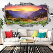 Vinili muri tramonto in montagna 3D