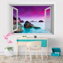 Vinile e adesivi finestra 3D tramonto sul mare