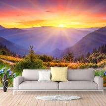 Murales in vinile tramonto in montagna