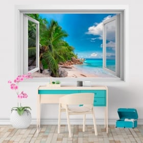 Sticker murale finestra Isole Seychelles 3D