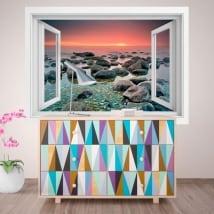 Vinile decorativo finestra tramonto nel mare 3D