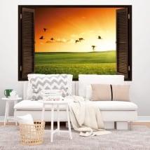 Sticker murale finestra uccelli al tramonto 3D