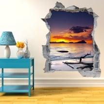 Adesivi murali tramonto sulla spiaggia 3D