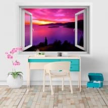 Sticker murale finestra tramonto in Grecia 3D