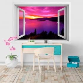 Sticker murale finestra tramonto in Grecia 3D