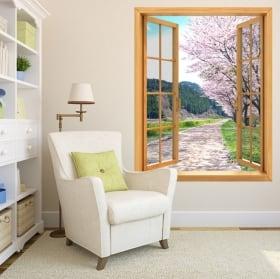 Adesivi pareti finestre ciliegio Giappone 3D