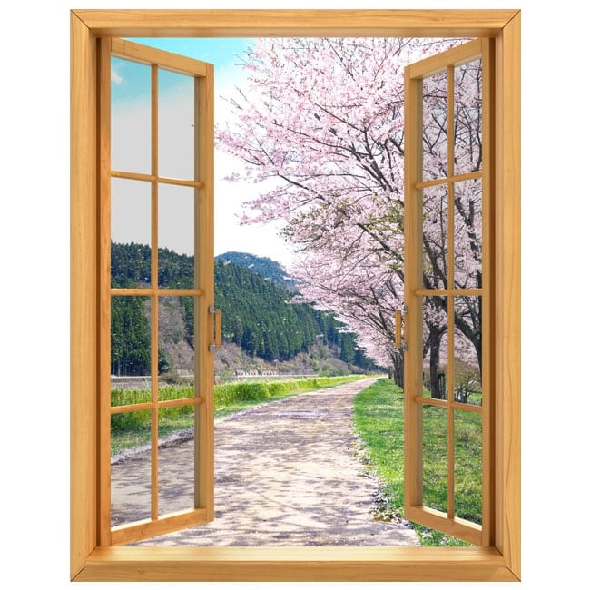 Adesivi pareti finestre ciliegio giappone 3d for Adesivi x pareti