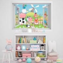 Vinile per bambini finestra fattoria degli animali 3D