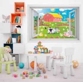 Vinile per bambini animali in fattoria 3D