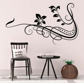 Sticker murale fiori tribali
