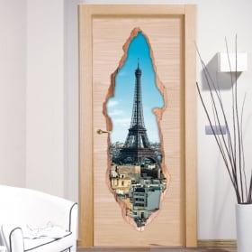 Vinile decorativo porte Parigi Torre Eiffel 3D