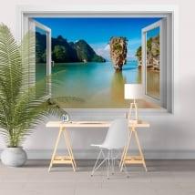 Vinile decorativo finestra isola James Bond Thailand 3D
