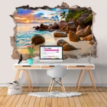 Vinile decorativo isola tropicale al tramonto 3D