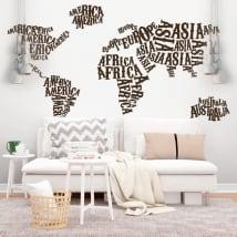 Vinile e adesivi mappa del mondo continenti