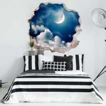 Vinile decorativo luna e nuvole 3D