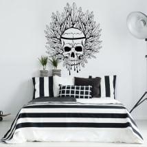 Adesivi murale cranio e piume
