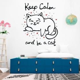 Sticker murale frase mantieni la calma e sii un gatto