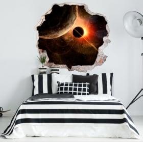 Vinile decorativo pianeti e cosmo 3D