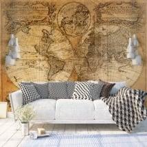 Murales in vinile mappa del mondo vintage