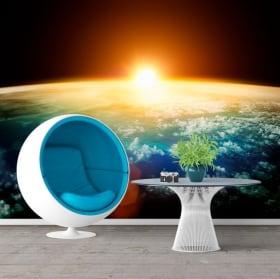 Murales in vinile pianeta terra e sole 3D