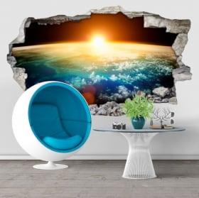 Adesivi pareti pianeta terra e sole 3D