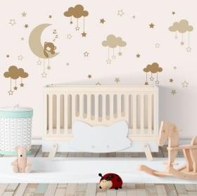 Vinile per bambini piccolo orso assonnato sulla luna