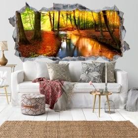 Adesivi muri tramonto foresta d'autunno 3D