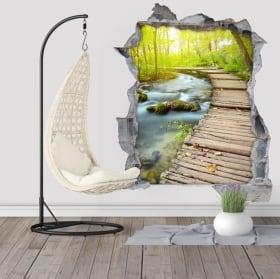 Adesivi murali passerella sul flusso 3D