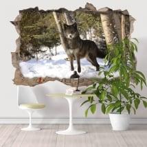 Sticker murale lupo nella foresta 3D