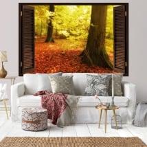 Vinili finestra alberi d'autunno 3D