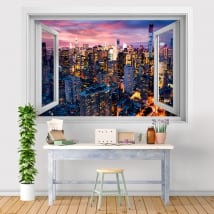 Vinili finestra tramonto di New York Manhattan 3D